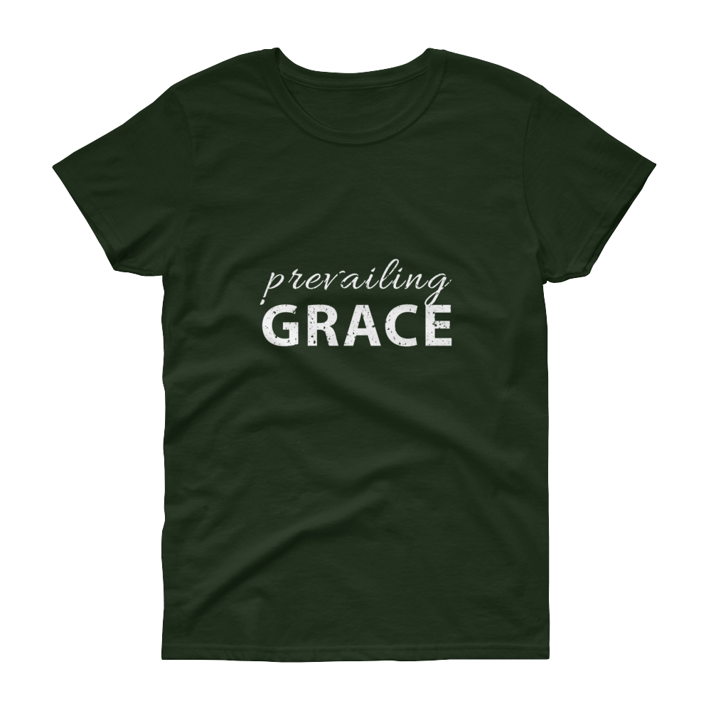 Prevailing Grace Colored White Womens Short Sleeve T Shirt
